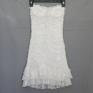 Bebe White Lace Ruffle Strapless Dress